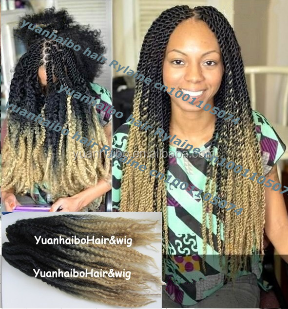 Whole Price 20inch Folded Black Blonde Synthetic Two Tone Ombre Marley Twist Braid