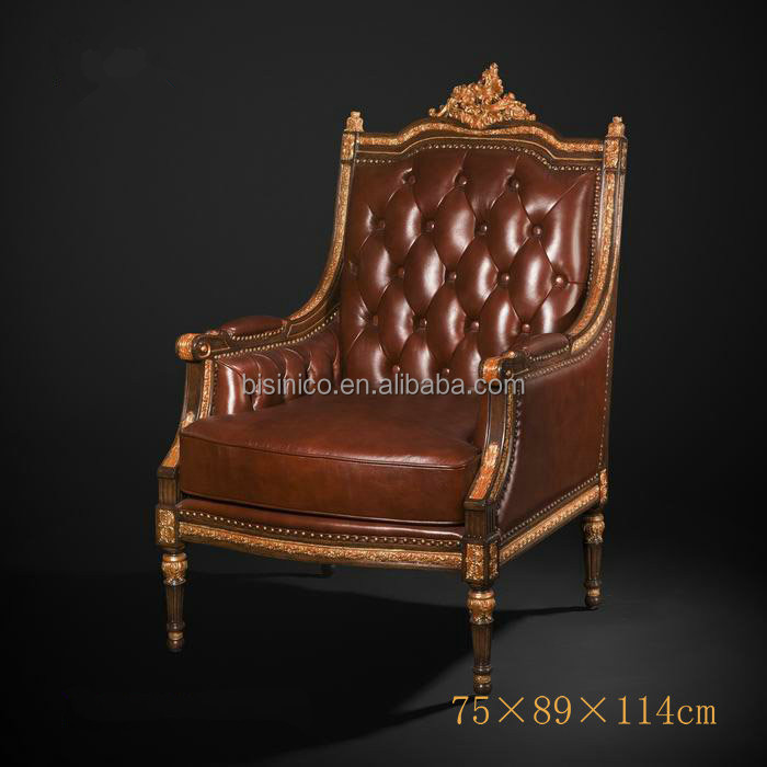 Antique Royal Style One Seater Sofa, Luxury Gold Painted Genuine leather Sofa  Chair, Imperial
