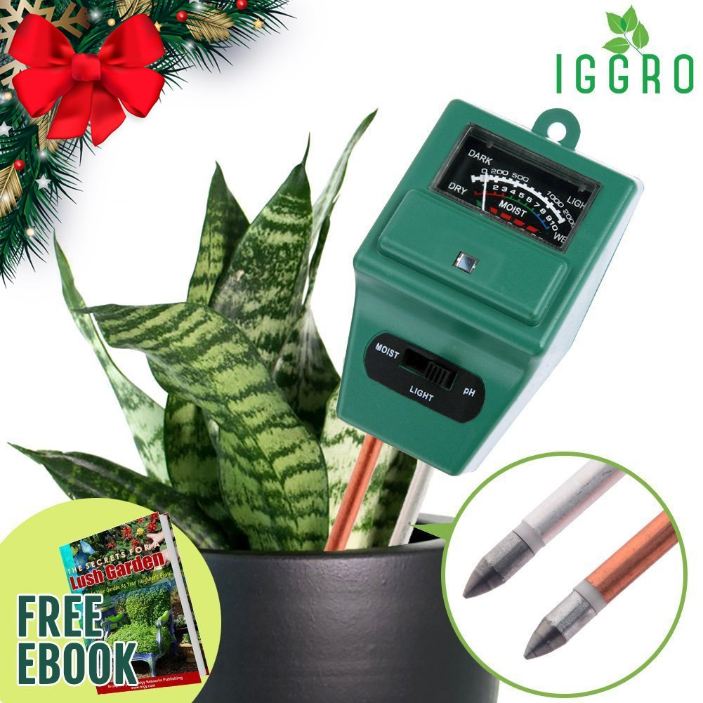 3 in 1 Garden Soil Tester Moisture Meter for Plants - No Battery pH Alkalinity Acidity, Sunlight Level with Dual 8 inch Probe Aluminum and Copper for Indoor Outdoor Gardening - Ebook Included