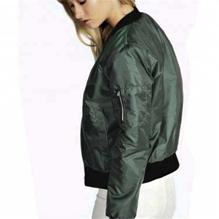 Custom Plain Thin Zipper Women Bomber Jacket Women