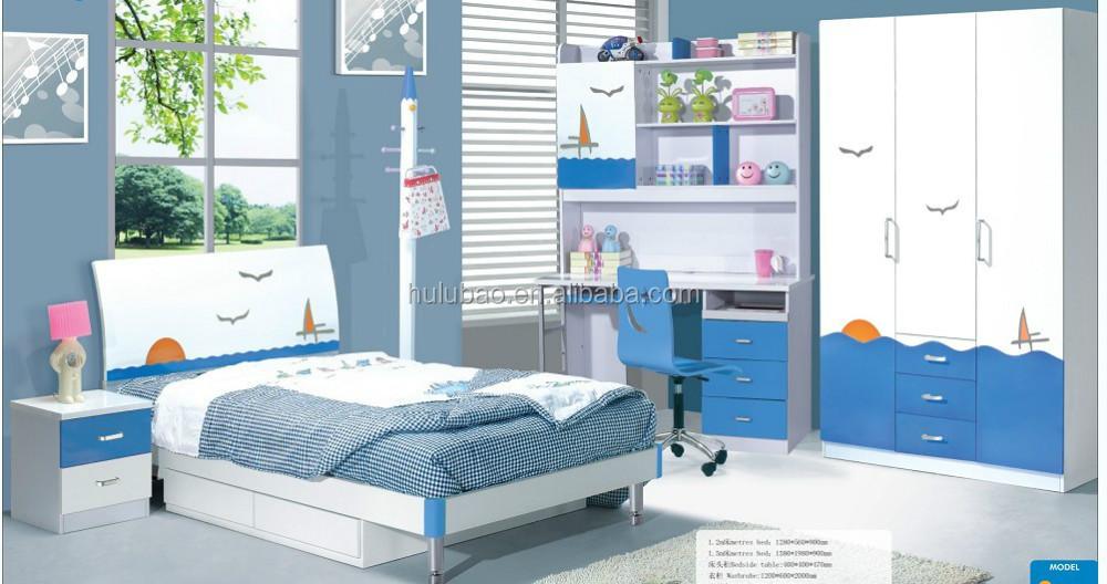 Kids Study Room Furniture,Single Bed,Panel Wood Living Room Kids ...