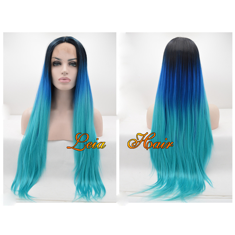 Buy Long Blue Wig Straight Synthetic Ombre Lace Front Wig Heat Resistant  Kanekalon Long Black To Blue Ombre Wig 24  39   39  For White Women in  Cheap Price ... 9320cfdc0d