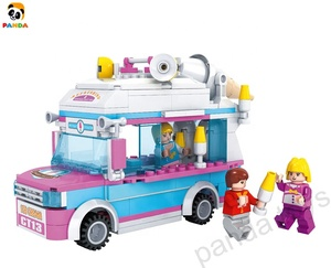 Amazon hot building block plastic blocks DIY toys Ice cream car series set toys PA02189