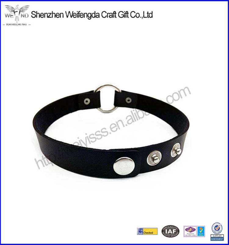 Customized Design Goth O-Ring Leather Choker Collar Hoop Chain