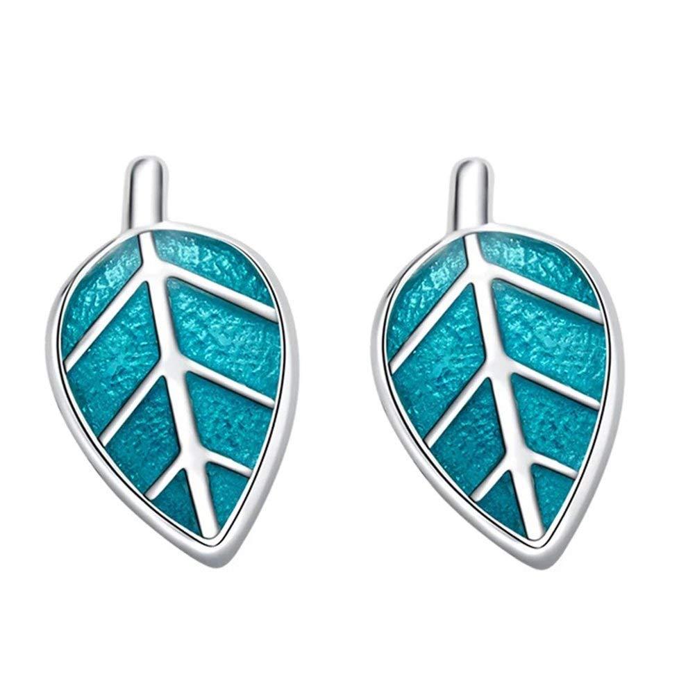 Meow Star Leaf Stud Earrings Sterling Silver Earrings Blue Enamel Leaf Earrings for Women