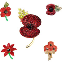 Promotional Poppy pin badge, rhinestone brooches