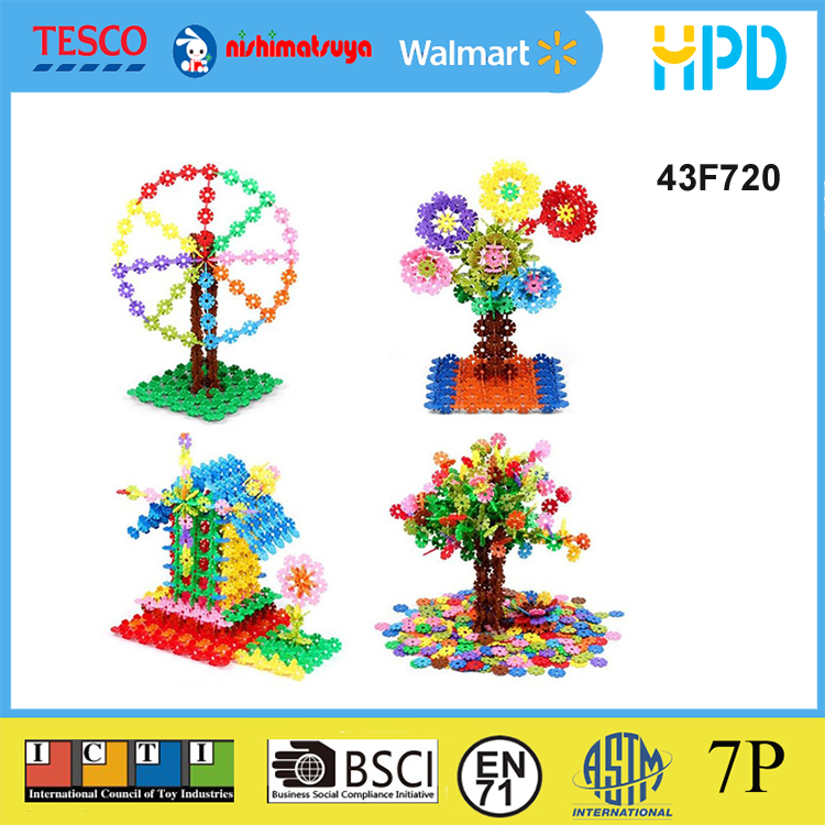 Environmentally-friendly Educational Creative Plastic Snowflake Building Blocks Puzzle Toys for Kids Baby