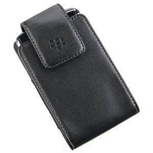 Leather Vertical Pouch Case w/ Swivel Belt Clip (OEM) for BlackBerry Bold 9650 (Black)