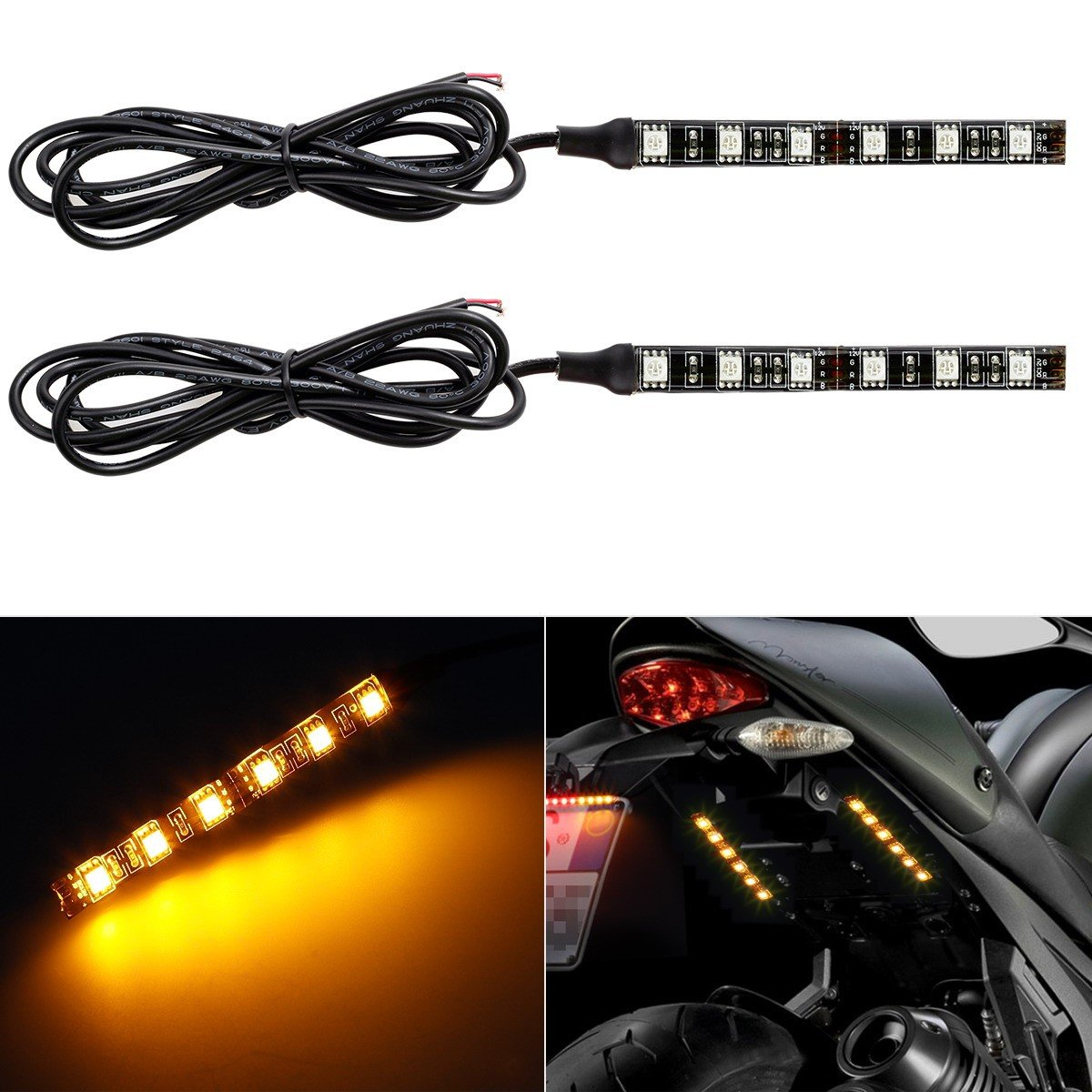 Partsam 2x Mini Strip Black led motorcycle Turn signal Universal Amber lights Strip 6LED