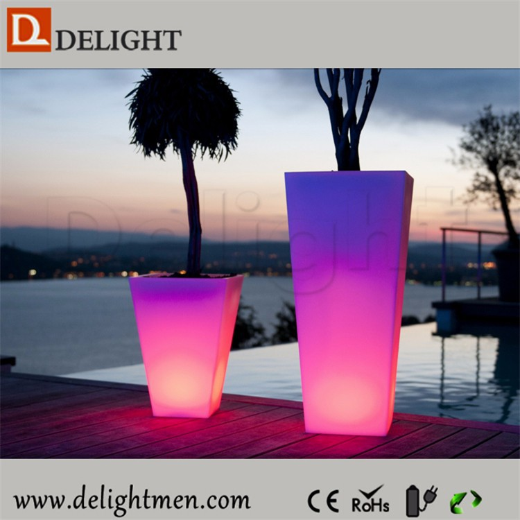 Outdoor solar led plant pot light/ led high flower pot/ led light planter pot