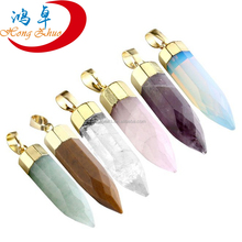 Healing Point Gemstone Beads Rock Quartz Crystal Pendant For Necklace