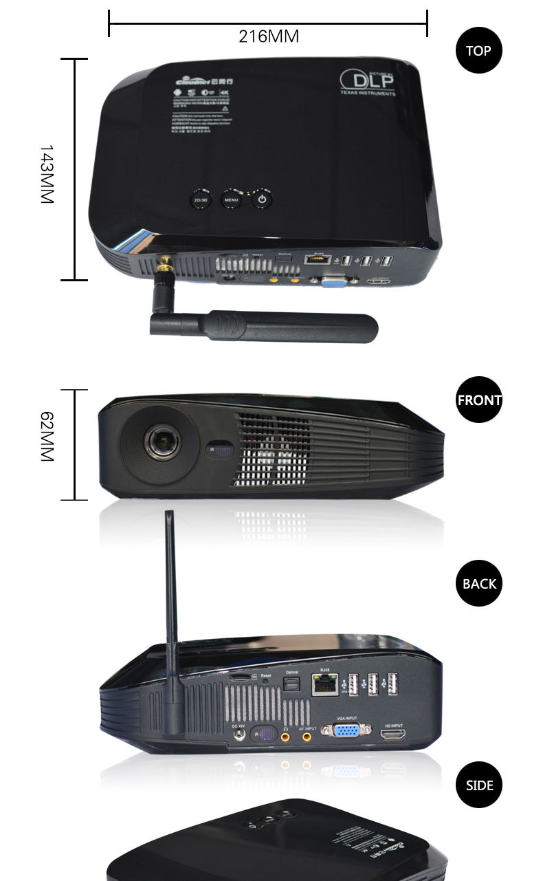 popular MINI projector DLNA Miracast Airplay digital video multimedia DLP wfii-display RGB 3 LED pocket mni projector