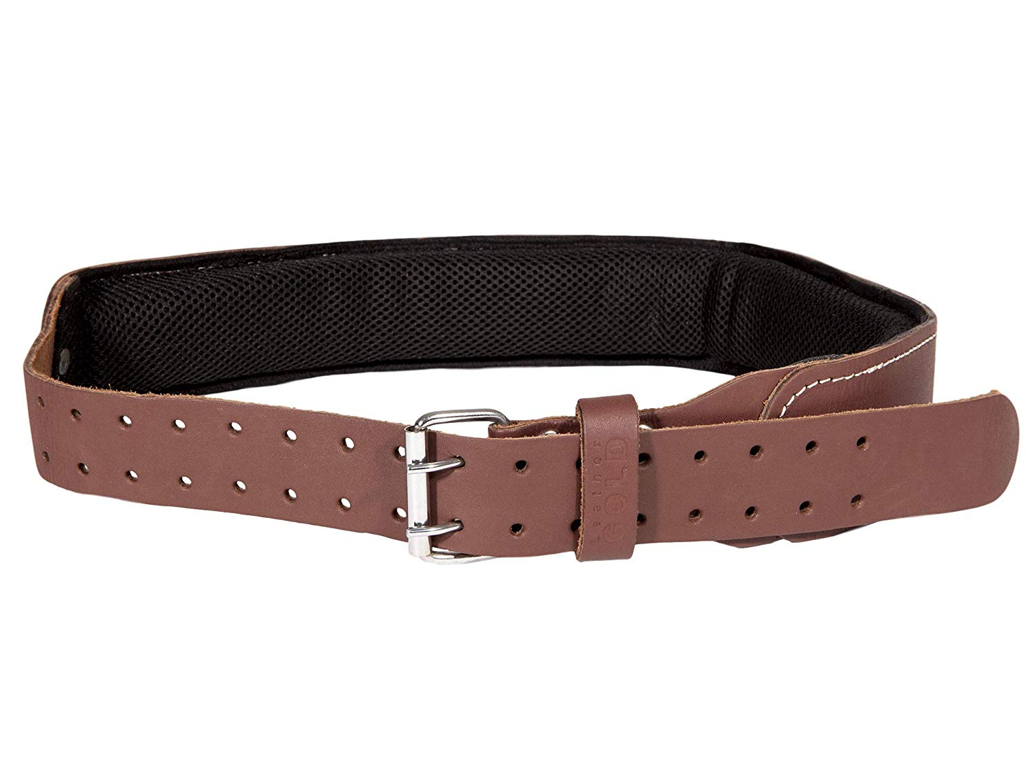 Leather Gold Padded Tool Belt, 3 Inch Wide | Genuine Grain Leather Belt with Double Prong Buckle and Two Hole Rows | Comfortable Mesh and Foam Padding | Built Tough for Pouches and Construction Tools