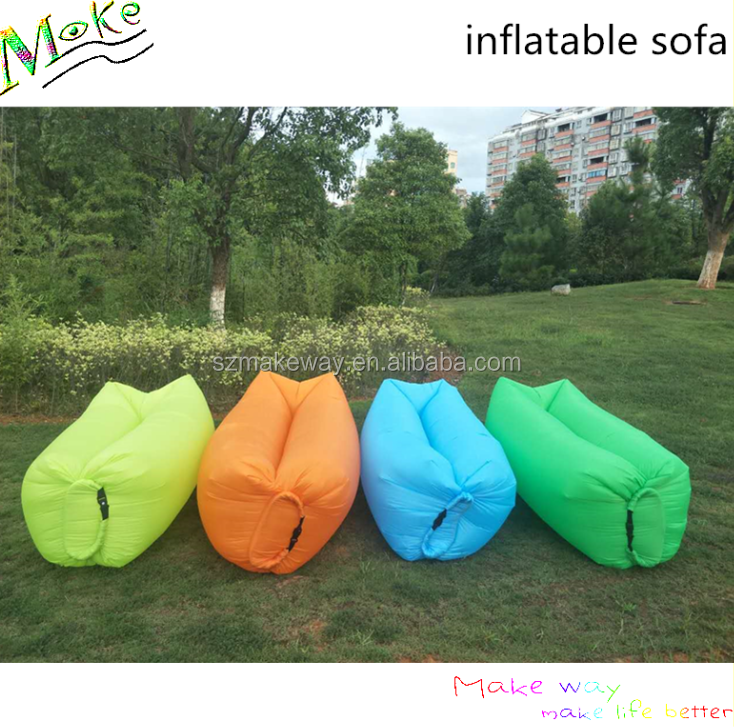 Wholesale portable lightweight sleeping bag multicolor inflatable beach bed folding nylon outdoor camping air sofa