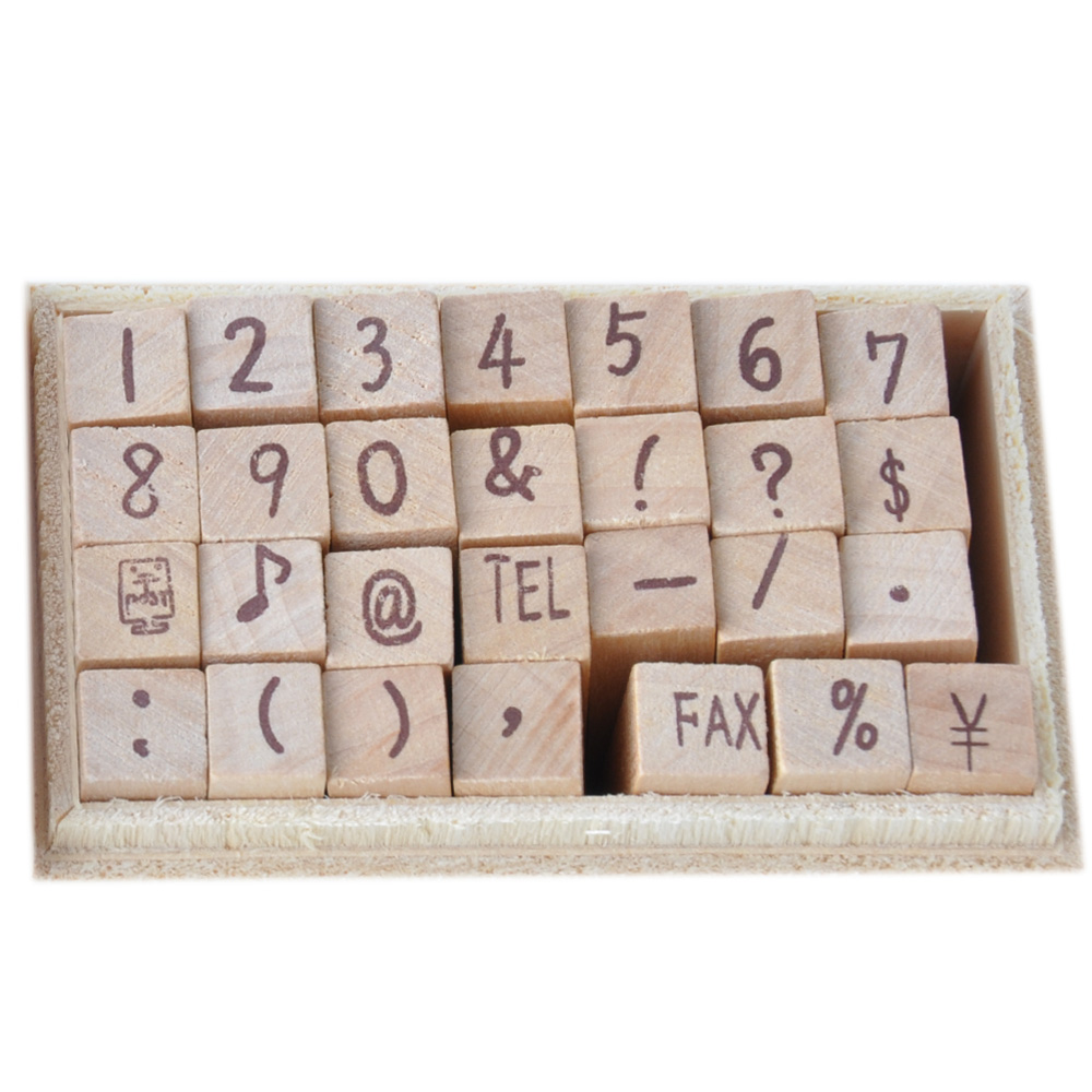 28pcs mini wooden stamp set in wooden box