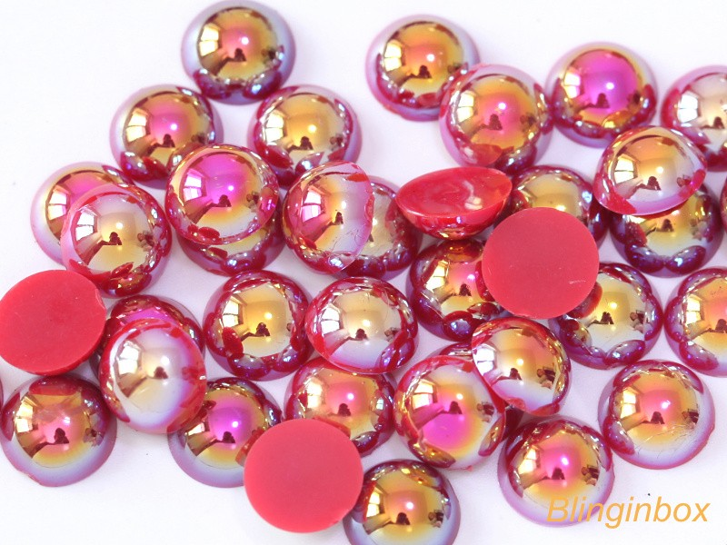 hot selling small packing available abs plastic red AB color flat back Pearls