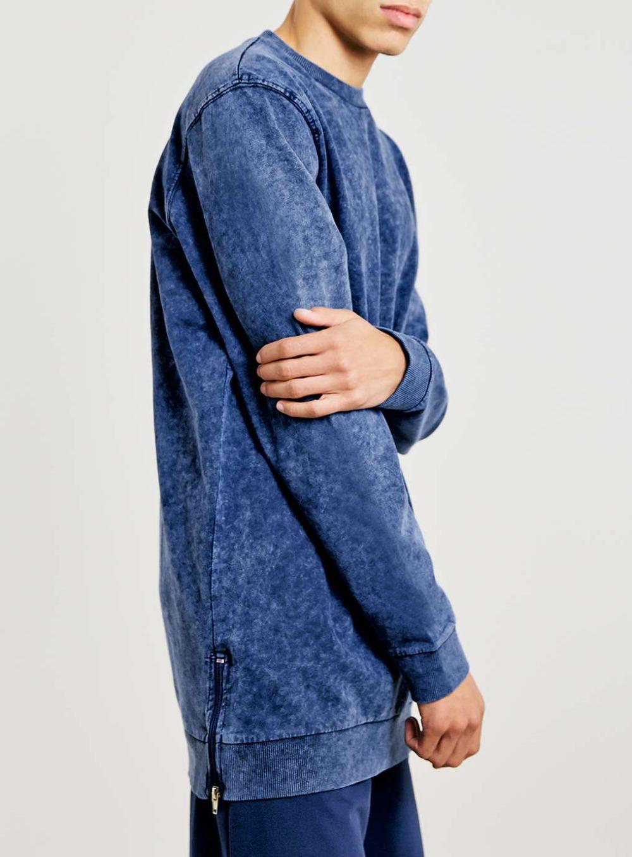 Longline Acid Wash Zip Hem Crewneck 100 Cotton Mens Sweatshirt ...