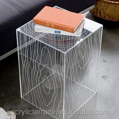 Modern Acrylic Timber Cube Table / Side Or End Table, Clear