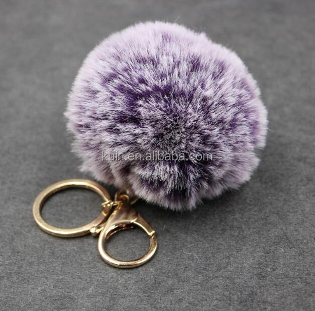 FHH-B-40 High-quality Faux Rabbit Fur Pom Pom Keychain With Bell For Girl Ladies Handbag Gifts