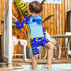 Children Swimwear Boys Cute Two Pieces Swimsuit Kids Long Sleeve Cartoon Beach suit Sun Protection Bathing Suit