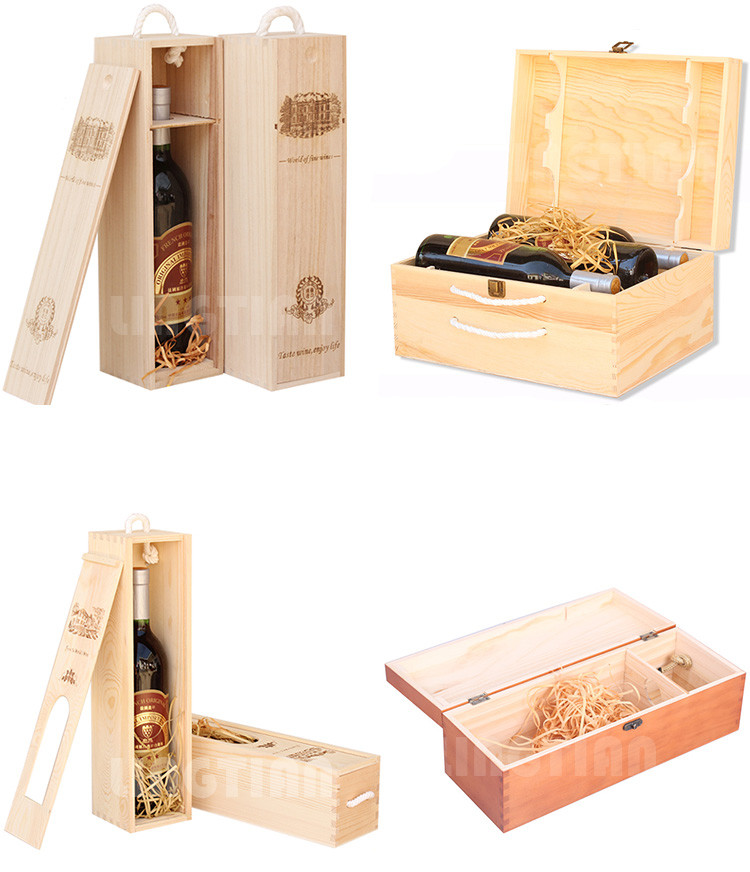 Handmade Awesome Custom Size Double Bottle Wooden Wine Packaging Box