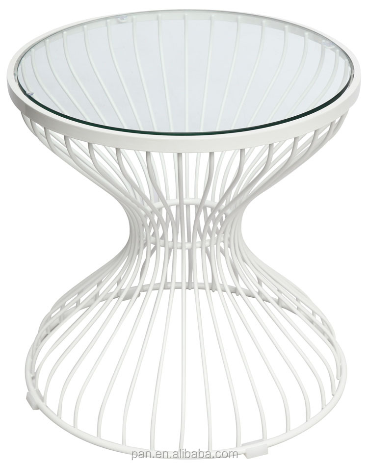 Living Room Furniture Glass Top Caged Coffee Table With White Wire Frame