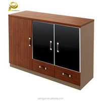 teak and black aluminium frame glass door modern wooden tea table design with leather handles