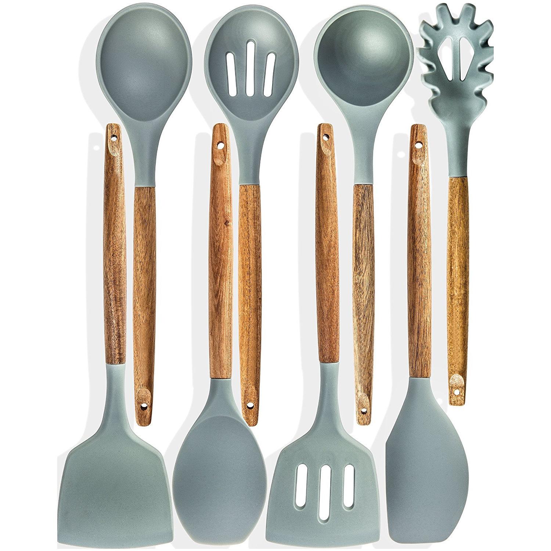4 piezas Juego de utensilios de cocina de madera cocina de bambú espátula de herramientas cuchara