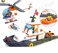 Chinese favorite plastic blocks Sea rescue team Rescue helicopter Team/Maritime Rescue Boat building blocks toy Creative PA06035