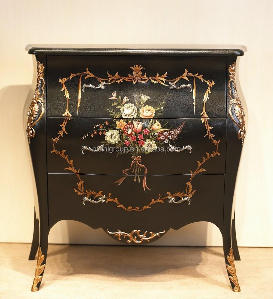 Oorspronkelijke barokke bloem design hout nachtkastje, luxe ...