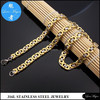 stainless steel necklace of fashion jewellery gold plated two tone flat byzantine chain