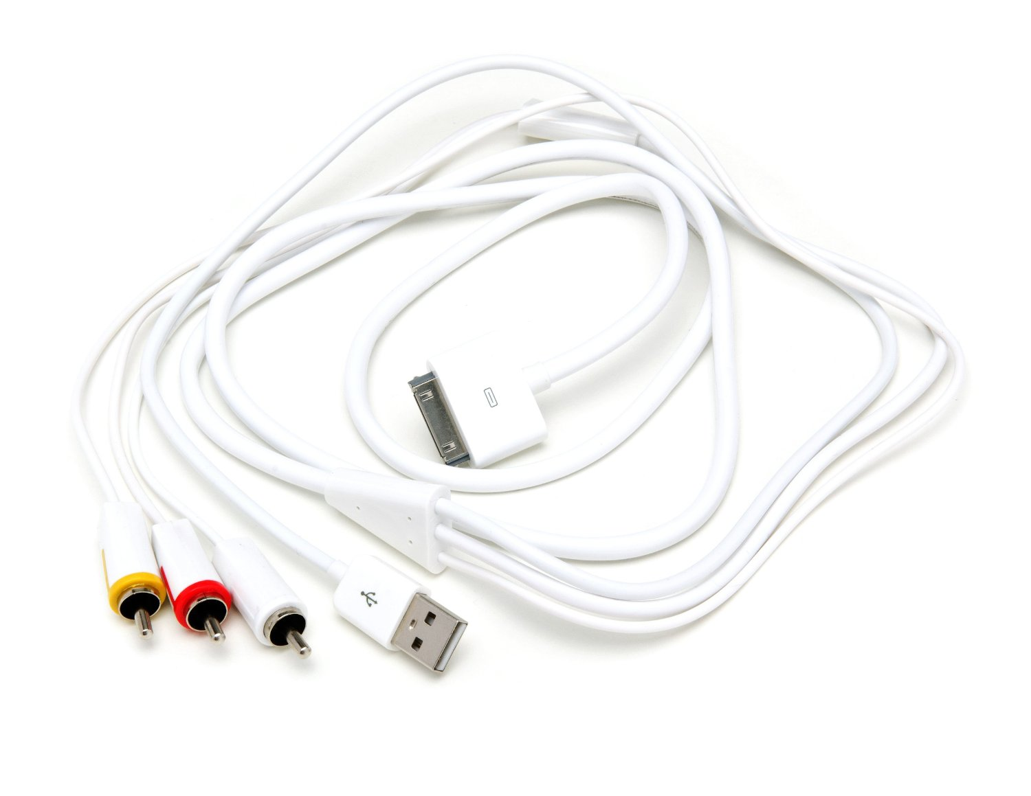 Skiva F101 MediaFlow Composite Video/AV Cable with USB Sync/Charge for iPhone 4S/4, iPad 3, iPad 2, iPhone, iPad and iPod