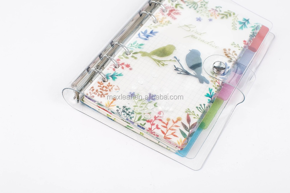2017 custom printed 6 ring binding spiral bound notebook beautiful agenda organizer planner notebooks with transparent PVC cover