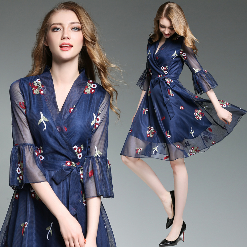 ZH1023E Modest elegant morden dark blue lace embroidery v neck women mesh dress flare sleeve office dress