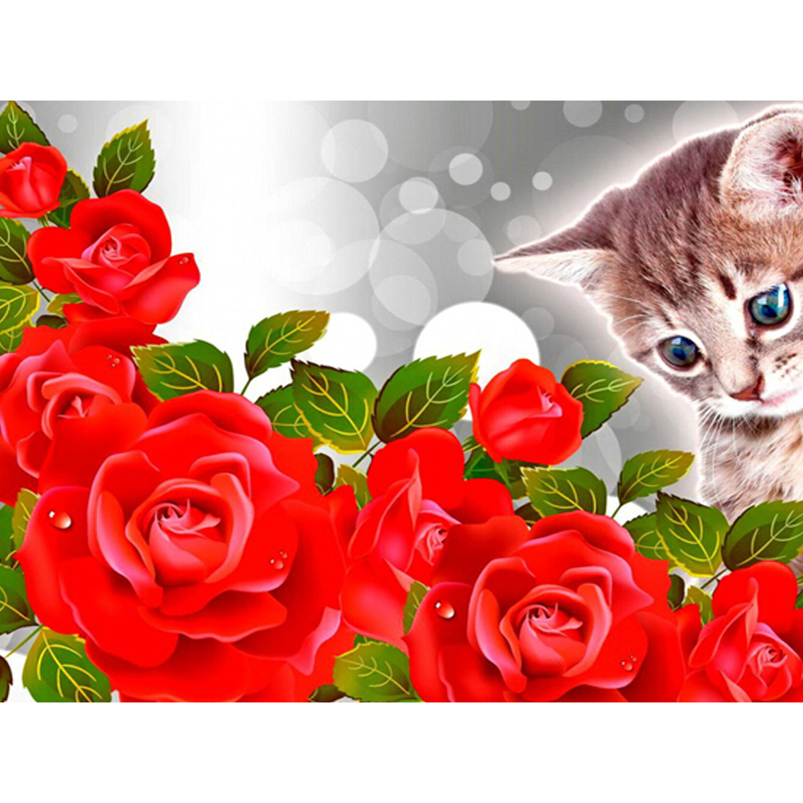 RZC-476 Western Style home decor 5D square Diy Diamond Painting Embroidery Flowers and cats living room sticker 40X30CM