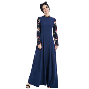 2018 new desgin navy abaya embroidery flower indonesia long sleeve umbrella islamic clothing