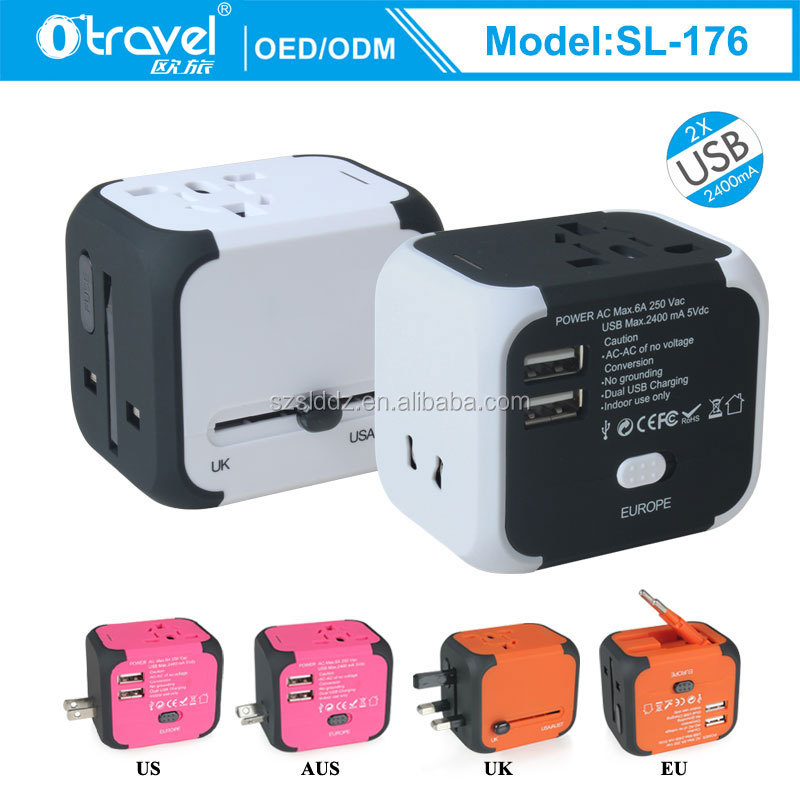 New songlinda travel adapter,multi colors worldwide all in one universal power converters wall AC power plug USBadapter charger