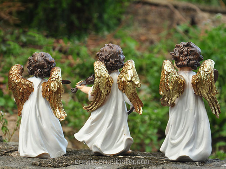 Wit angel ontwerp polyresin custom made muzikale golden resin flying angel