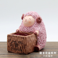 Roogo resin new products colorful happiness sheep square garden decoration flower pot for sale