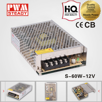 High quality 110/220v ac to 12v 5a dc regulated smps 60w power supply unit/12 volt 5 amp led driver/S-60-12 CCTV power supply