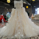 LS00211 Long Jacket heart line wedding gown with back bow illusion neckline lace mermaid wedding dresses
