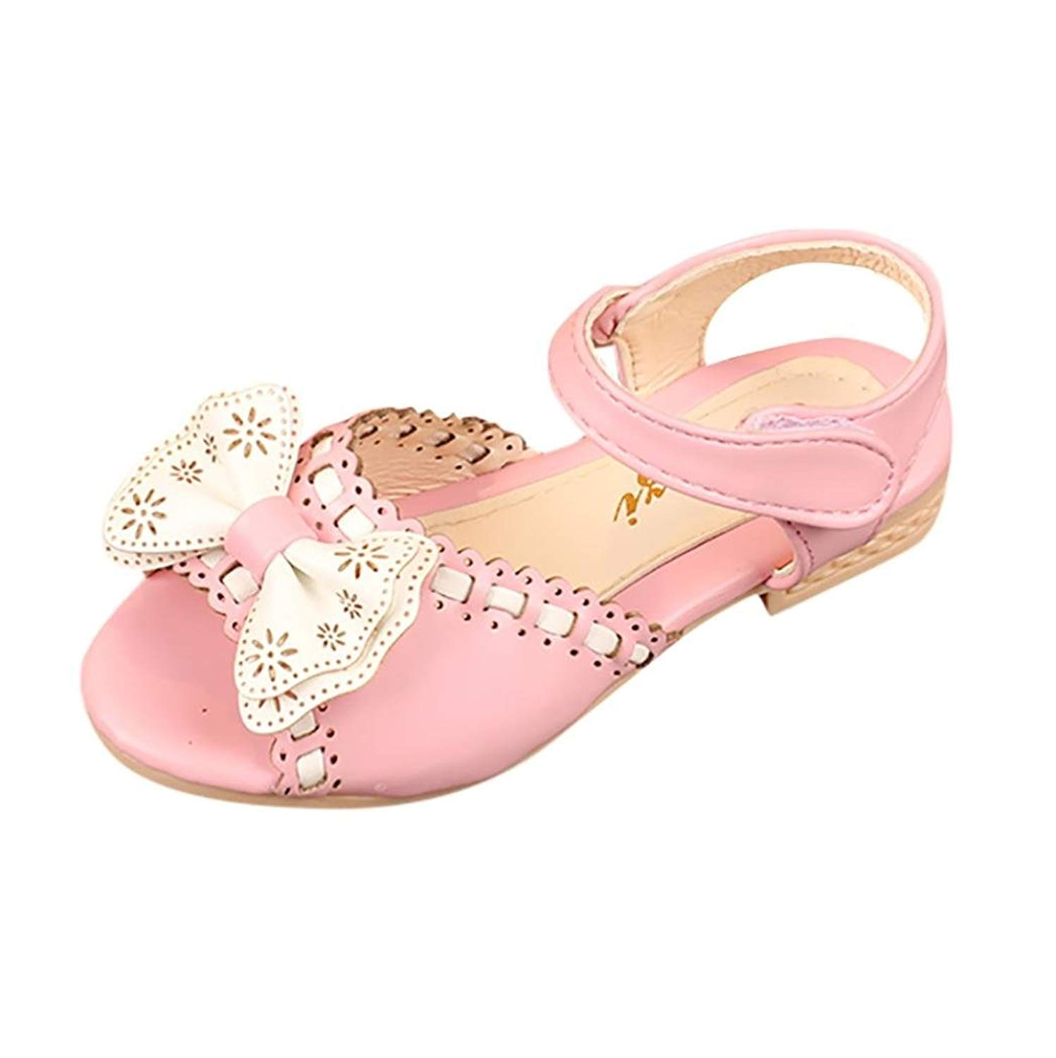 Axinke Girls Summer Peep Toe Flat Princess Sandals with Bowknot for Toddlers/Little Kid/Big Kid