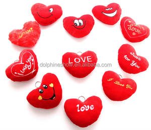 Valentine day gift various cute plush toy emoji emoticon keychain Low MOQ soft stuffed plush mini red heart shaped pillow
