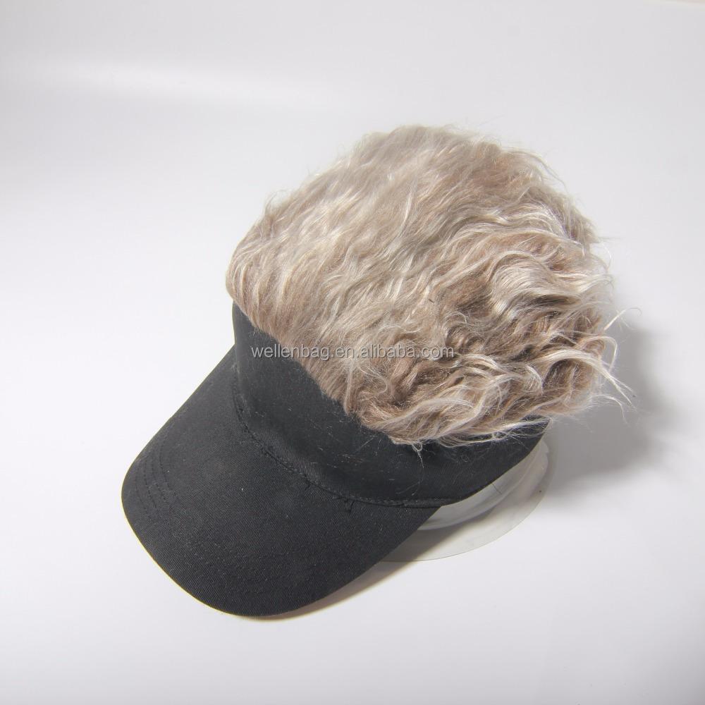 c0654618 Wholesale Golf Hat With Fake Hair Funny Cheap Price Black Baseball Cap  Visor Hats