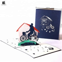 Father's Day Thank You Card My Father Postcards Wholesale 3D Pop up Card Handmade Paper Laser Cutting Greeting Cards