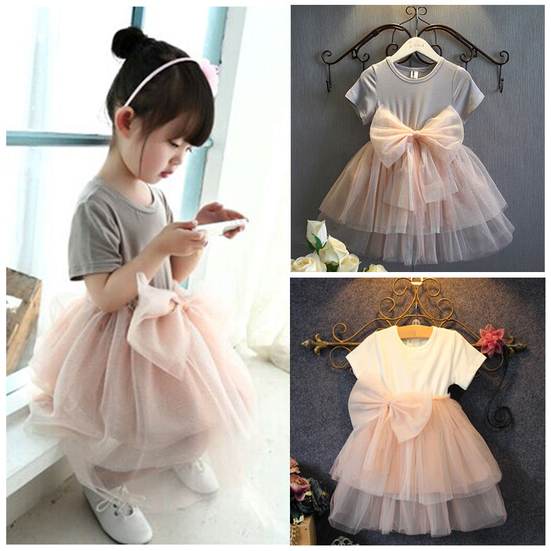 Girl Lace font b Dress b font 2016 Toddler Princess Baby Girls Sequins Tulle Bow Summer