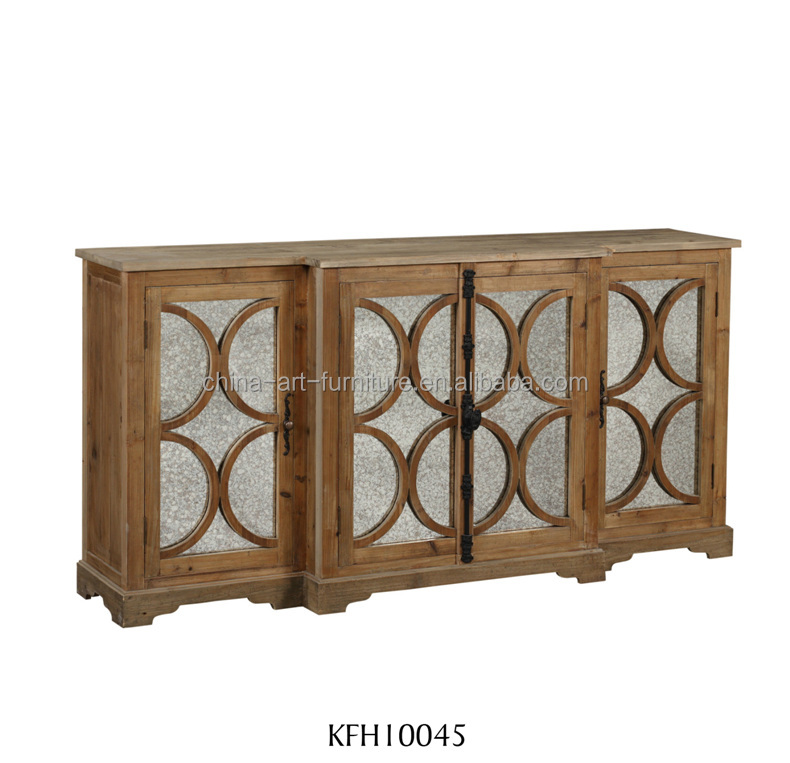 Latch side <strong>cabinet</strong> with glass mirror doors, white Antique French home furniture