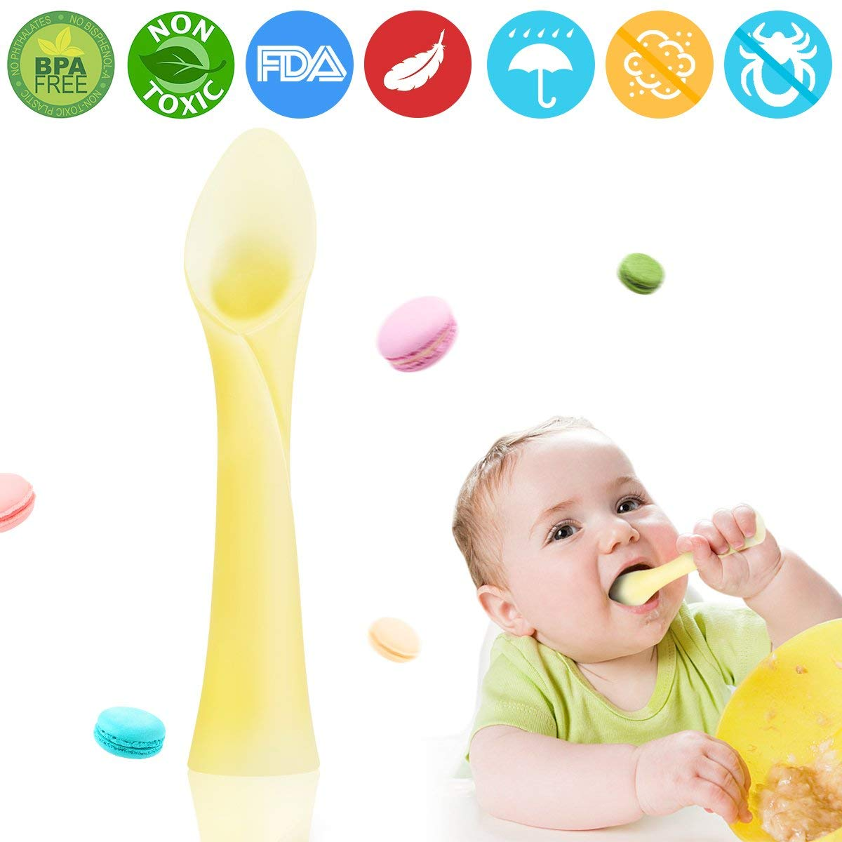 Baby Feeding Spoon Soft Tip Silicone Infant Spoon Feeder Safety Temperature Sensing Spoon Gum-Friendly for First Stage Babies Great Infant Gift Set 2Pcs, Green