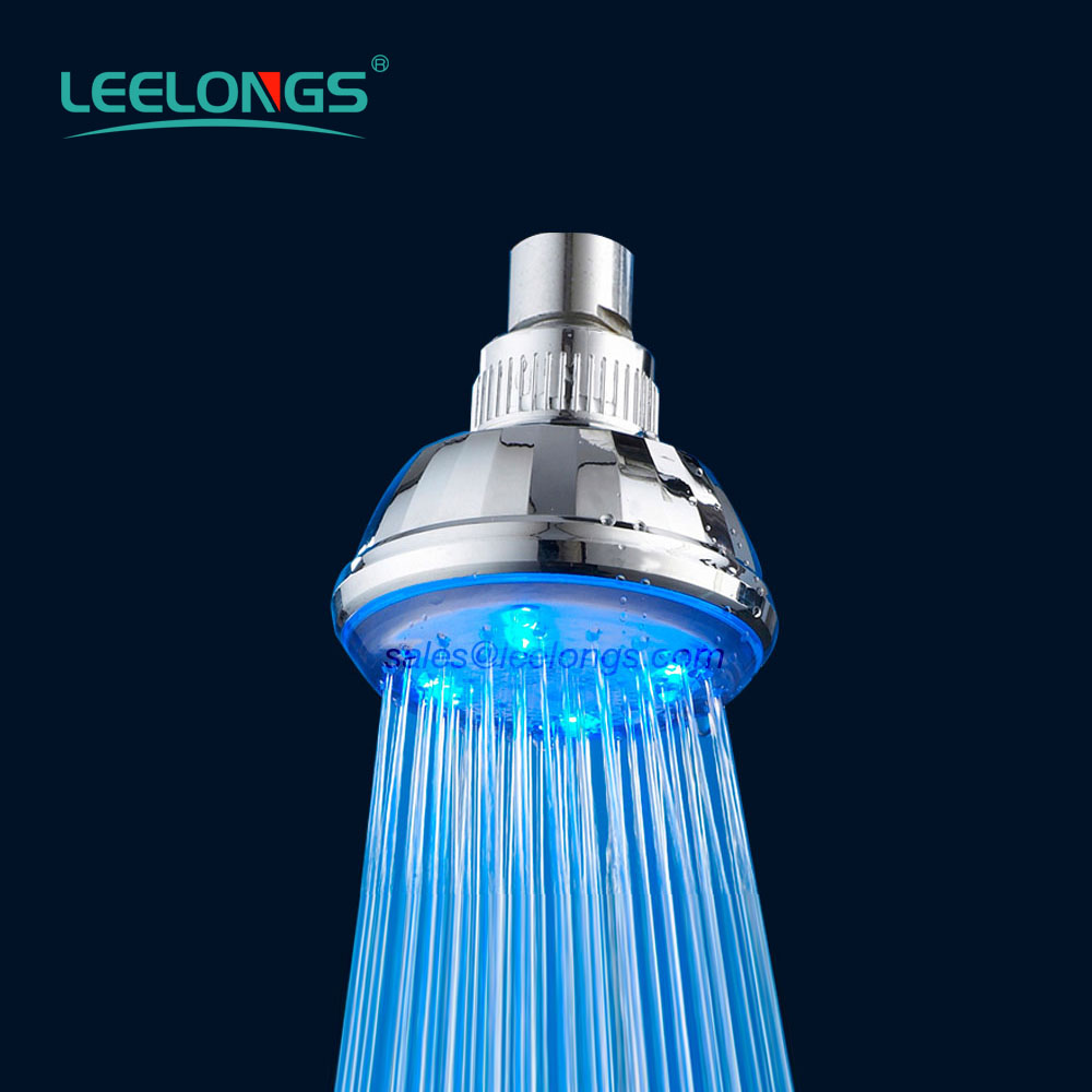 Bathroom ABS Chromed Round Wall Fixed Rainfall LED Plastic Shower Head For Hotel Use