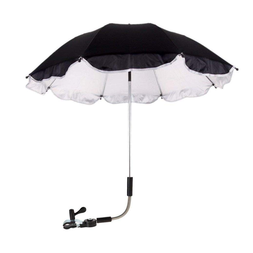 Xindda Wheelchair Pushchair Baby Stroller Umbrella, Baby Stroller Rain Cover Parasol, Sun Canopy Rain Protection UV Rays Umbrella with Adjustable Clip-On Stand Holder